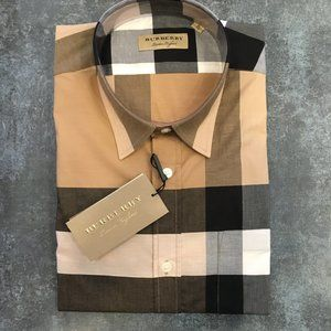 Burberry London Camel Plaid Button Down Shirt